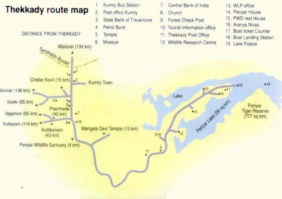 Route Map of Thekkadi