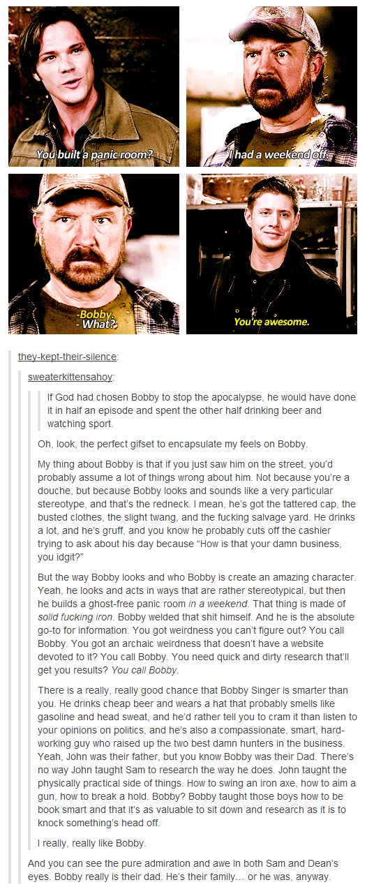 "Bobby Singer is my favorite character. I just watched ""Death's Door"" and I am currently crying my eyes out."