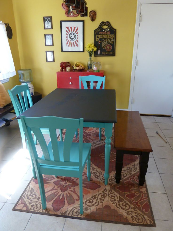Painted kitchen tables   The Yogic Kitchen  Dal  a Kitchen Rehab and Table  ArtBest 20  Painted kitchen tables ideas on Pinterest   Paint a  . Teal Painted Kitchen Table. Home Design Ideas