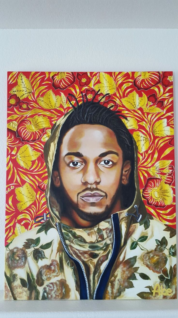 Kendrick Lamar Floral acrylic painting by Junko Abe.