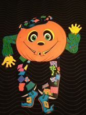 Vtg Beistle Goblin Jointed 1976 Halloween Pumpkin Man Jack O Lantern Die Cut 2
