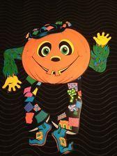 Vtg Beistle Goblin Jointed 1976 Halloween Pumpkin Man Jack O Lantern Die Cut 2