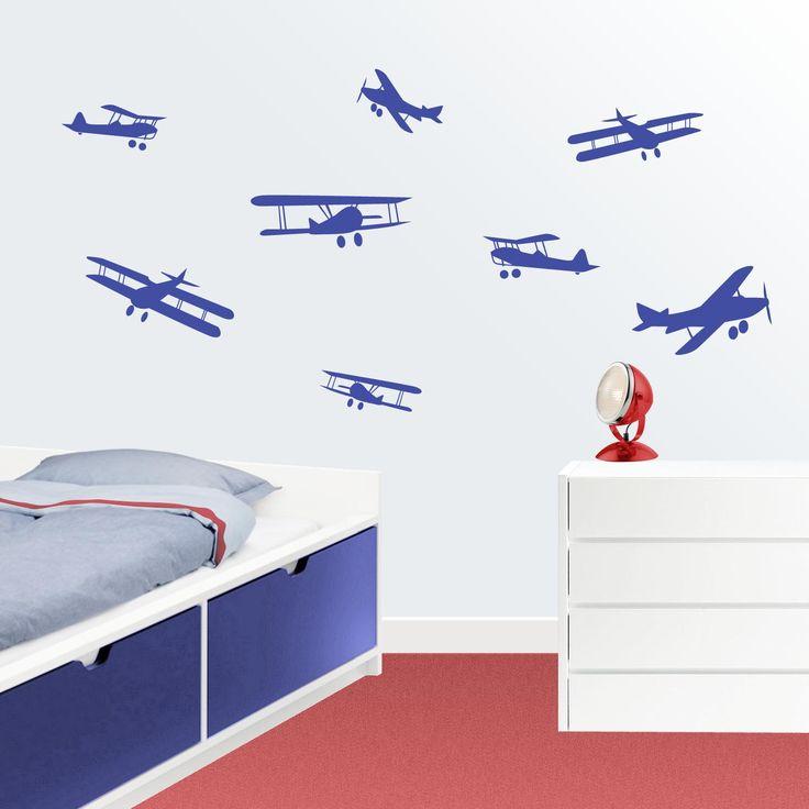 Vinilo infantil Aviones.  Divertido vinilo de aviones que surcarán el cielo de la habitación infantil y juvenil de tus hijos.