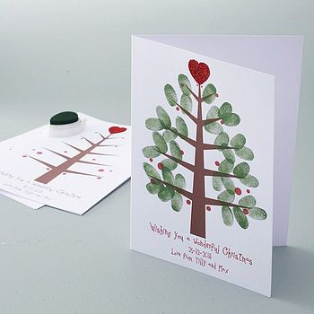 Cute thumbprint tree...Great FHE activity. Have kids help make the Christmas cards to be sent out that year.