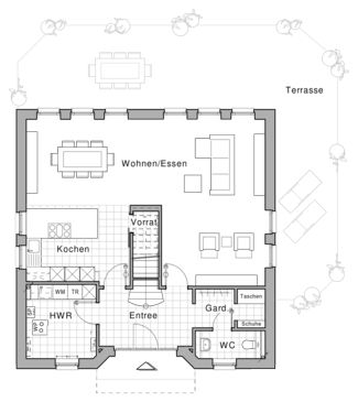 Erdgeschoss, Viebrock, WC/Garderobe Taschen Schuhe/Treppe
