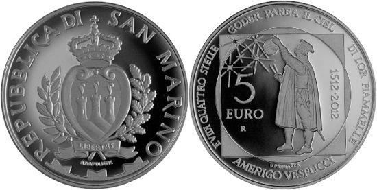 Mundial de Monedas Noticias: San Marino € 5 2012 - Américo Vespucio