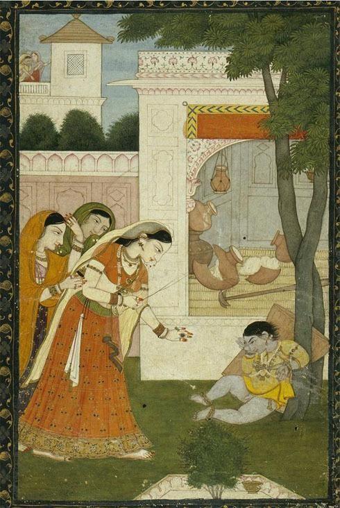 Yashoda disciplines young Krishna, tying him to a tree, Pahari