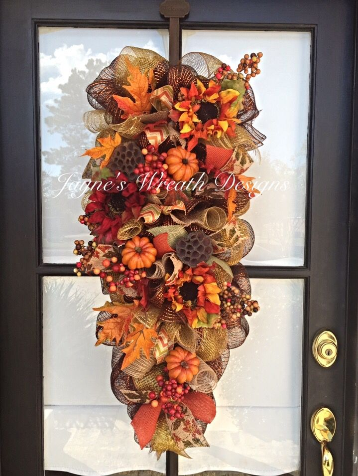 Fall Door Swag with Sunflowers and Pumpkins Jayne's Wreath Designs on fb and Instagram
