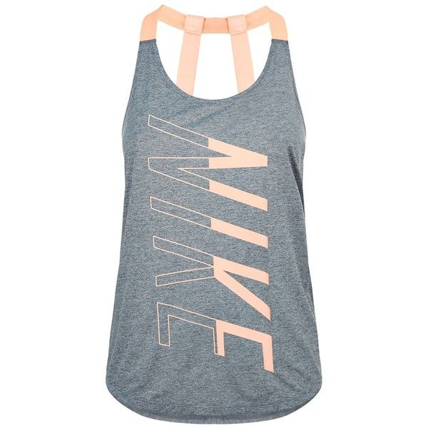 Nike Breathe Training Tank Top ($38) ❤ liked on Polyvore featuring activewear, activewear tops, nike sportswear, nike, neon activewear, nike activewear and logo sportswear