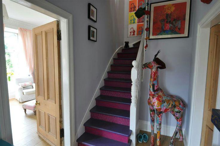 Decoupage giraffe stairs hallway interior design home decor
