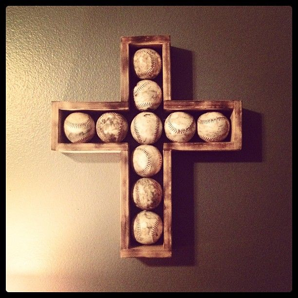 Beautiful baseball cross! Love it! Great idea for all of Spencer's keepsake baseballs!!