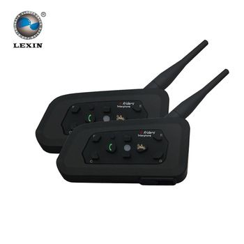 2017 2PCS Lexin R6 1200M Motorcycle Bluetooth Helmet Headsets Intercom for 6 riders BT Wireless intercomunicador Interphone MP3