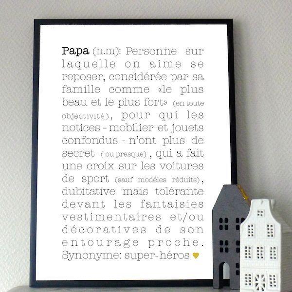 papa, définition, babayaga, magazine, webzine, affiche, poster, déco, décoration, enfants, maison, chambre, fête des pères, cadeau: