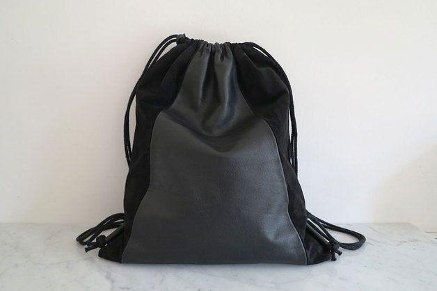 Turnbeutel Rucksack LEDER, schwarz von HEYDAYS auf DaWanda.com