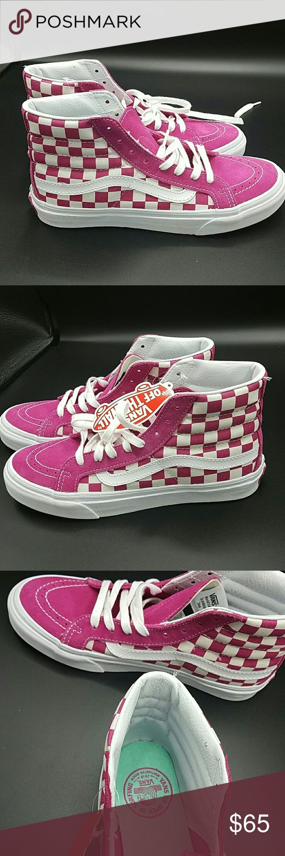 Sk8 Hi Slims Womens Pink Checkerboard Skate High Slim Vans Vans Shoes Sneakers