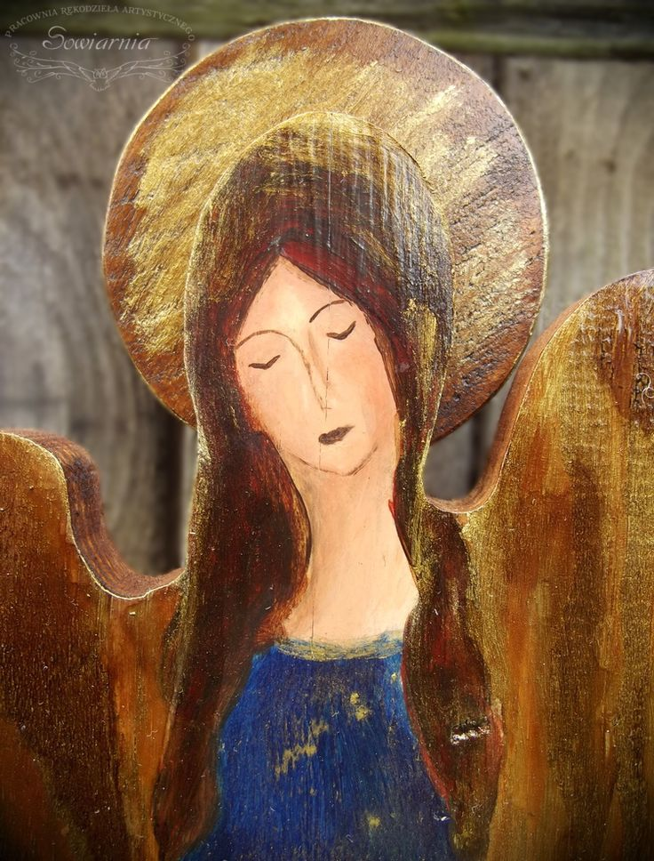 Angel painted on reclaimed wood