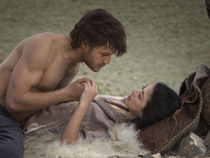 "Marco Polo (Lorenzo Richelmy) spends time with love interest Kokachin (Zhu Zhu) in ""Marco Polo."""