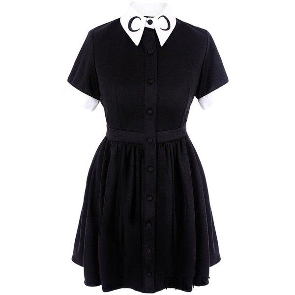 Restyle Gothic Lolita Gypsy Witch Moon Little Black Mini Dress ($80) ❤ liked on Polyvore featuring dresses, mini dress, goth mini dress, goth dresses, gothic mini dress and short dresses