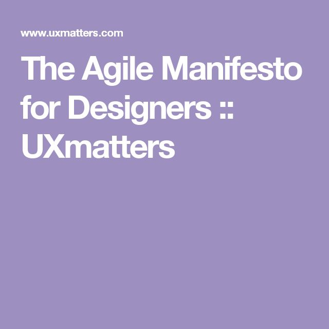 The Agile Manifesto for Designers :: UXmatters