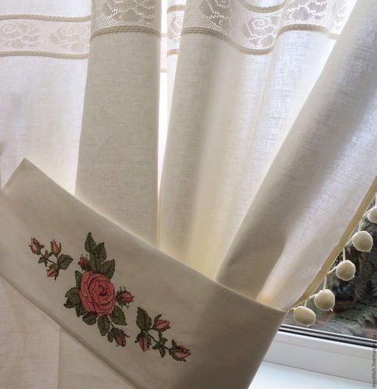 """Текстиль, ковры ручной работы. Ярмарка Мастеров - ручная работа. Купить Винтажные льняные шторы с вышивкой """"Бутоны роз""""-2. Handmade."""