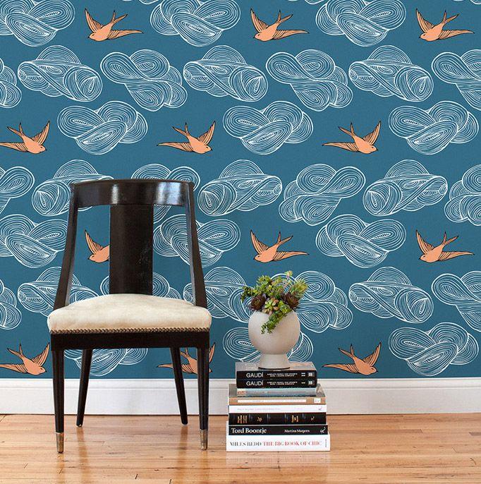 papier peint bleu foncé oiseaux oranges