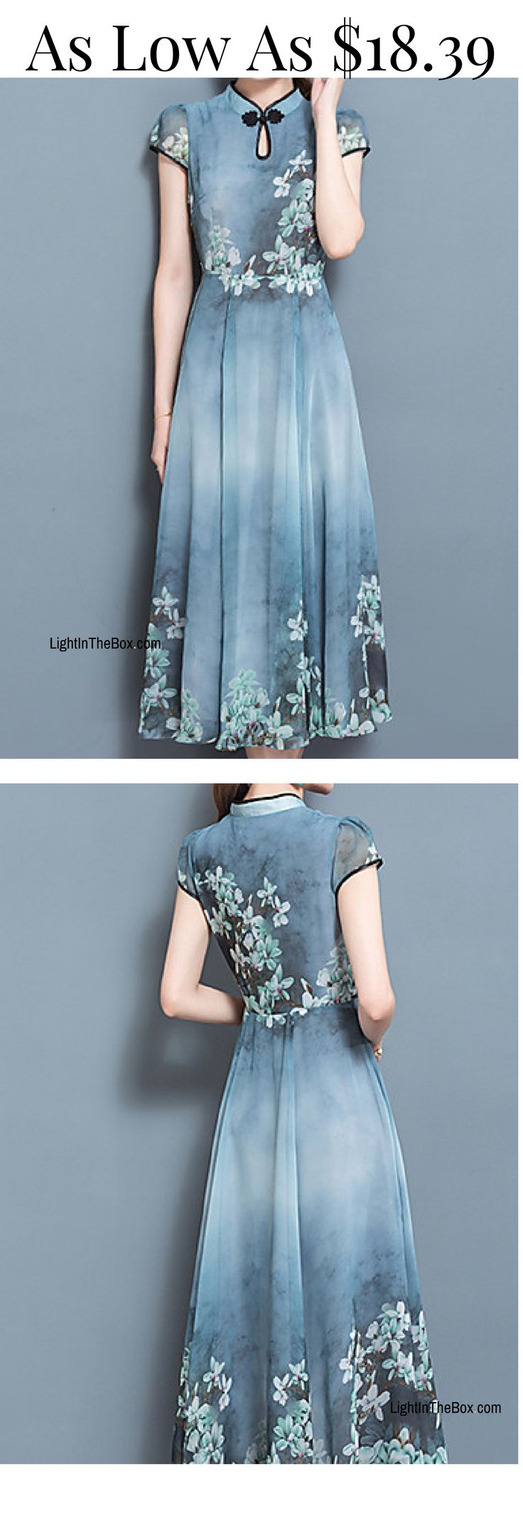 Elegant sophisticated maxi blue dress in Chinoiserie style. Charming, isn't it? Click on the picture to shop at $18.39.