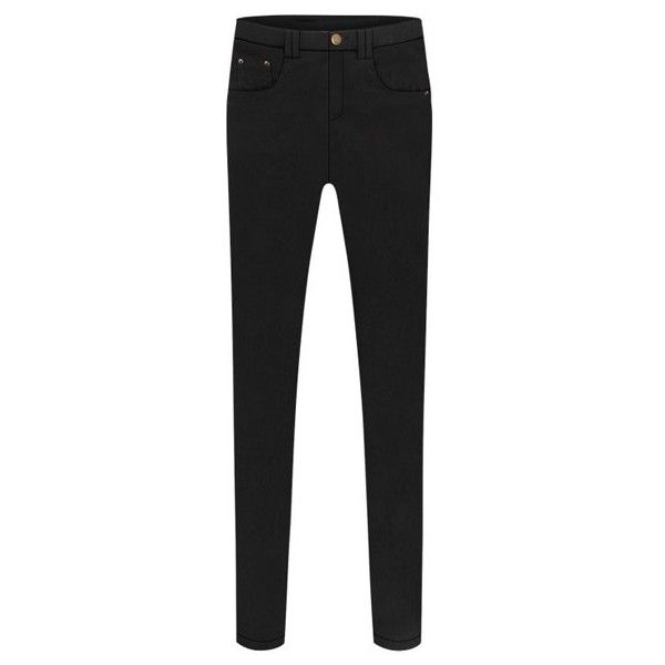 Stylish Slimming Stretchy Zippered Black Skinny Pants For Women Black ($16) ❤ liked on Polyvore featuring pants, stretch trousers, slim fit pants, stretchy pants, slim trousers and slim pants