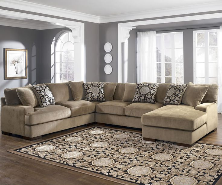 Furnitures, : U Shape Sectional By Ashley Furniture Chicago With Circular Cushion And Rug Pattern For Contemporary Living Room Decor Ideas