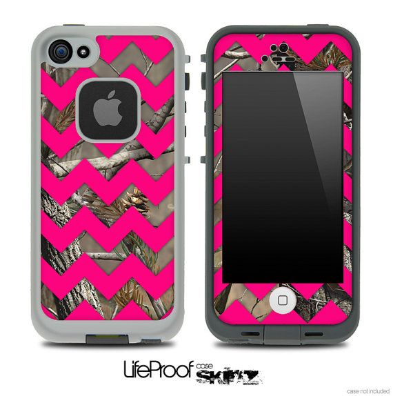 Camo & Pink Chevron Print Skin for the iPhone 4/4s or 5 LifeProof Case