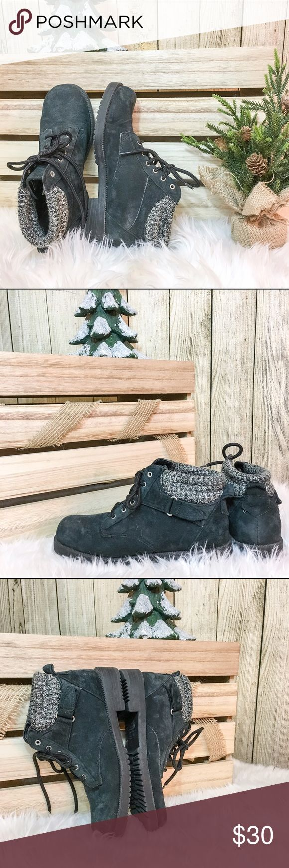 Suede-Like Combat Boots 🎄Black suede-like material 🎄Knit Sweater cuff 🎄Velcro buckle on outer side of both shoes 🎄Thick and durable 🎄True to size; I wear 8 1/2-9 and they fit just slightly too snug  💋DISCLAIMER💋 - Reasonable offers accepted on items not marked 'price firm' - 15% off on bundles of 2 or more items - I do not discuss prices in the comments, but feel free to ask any other questions🙂 Shoes Combat & Moto Boots