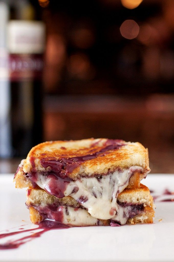 """This Wine & Cheese Grilled Cheese is so inventive, we just had to feature it. It's a perfect opportunity to indulge the child in all of us—while remembering that being an adult has its perks too! April is Grilled Cheese Month on the """"BS in the Kitchen"""" food blog--what a great idea!"""