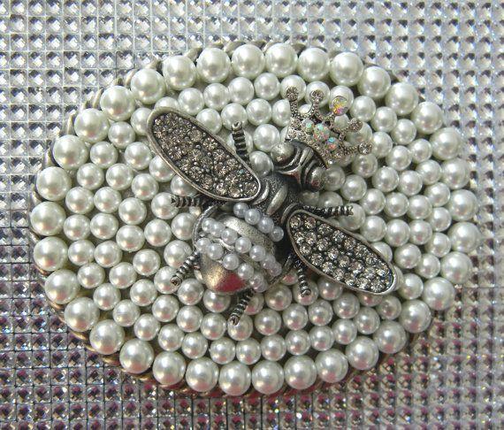 Extra Large Custom Pearl Belt Buckle Honeybee