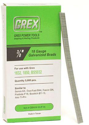 GREX GBN18-10 (F10) 3/8 Inch Length 18 Gauge Galvanized Brad Nails