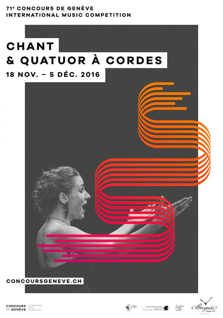"""Established in 1939, the Geneva international music competition is a renowned classical music festival organized every year by the Concours de Genève foundation. It is one of the oldest music competitions of its kind. Swiss studio The Workshop was commissioned to create the visual identity for the 71st festival, with the concept of translating music into an image. """"As a means of translating the musical productions put on by the performers at the Concours de Genève into imagery, The Work..."""