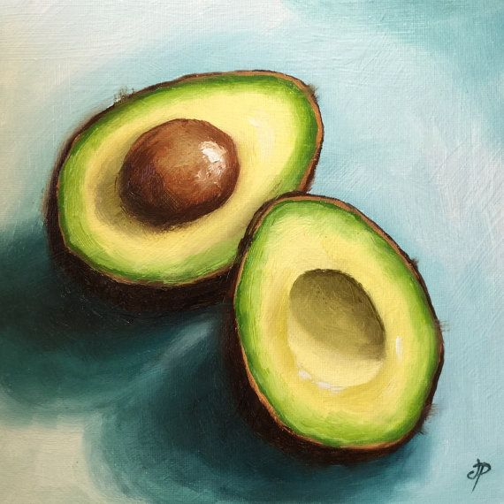 Avocados on blue Original still life oil Painting by JanePalmerArt
