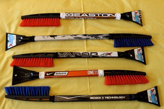 Hockey Stick Snow brushes.