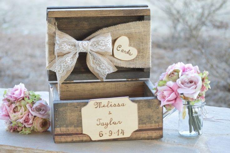 coffret en bois pour les cartes de voeux au lieu de livre d'or mariage