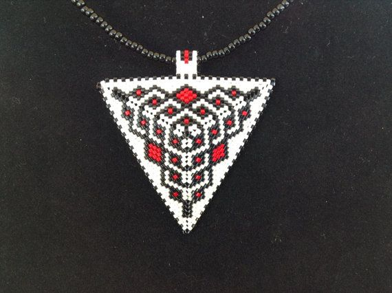 Black White and Red Triangle Choker by DoubleACreations on Etsy, $20.00