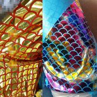 Escamas de pescado de escamas de dragón bronceado tela metálica moda ropa cosplay partido garment diy hechos a mano material de tela diy del arco iris