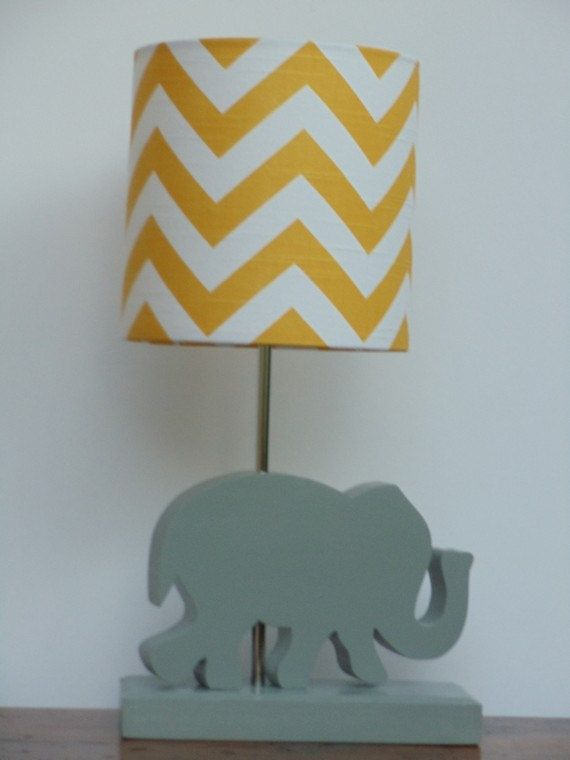 Small Yellow/White Chevron Drum Lamp Shade by PerrelleDesigns