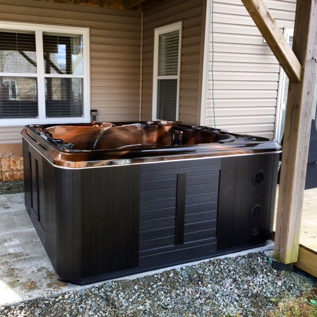 Beautiful hot tub we just put in for some very happy folks in Halifax.  www.sparklingpoolsandspas.ca