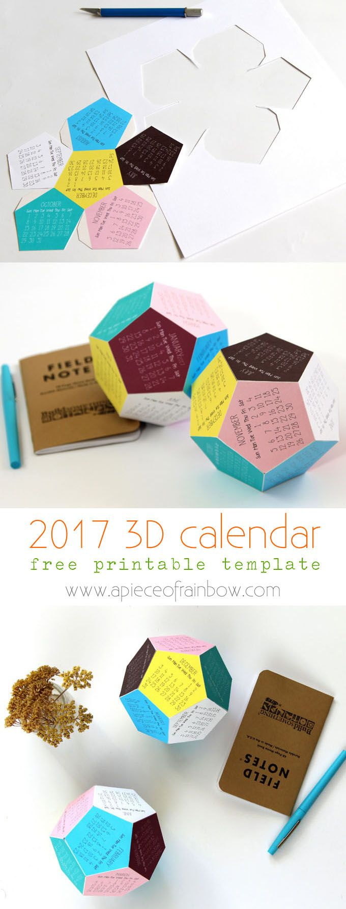 Make a super fun and unique 2017 dodecahedron 3D printable calendar! Free templates include color, black and white designs, and Silhouette cutting files!