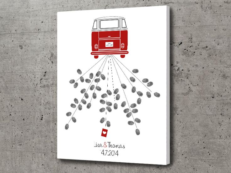 Gästebuch+Leinwand+VW+Bus+T1+von+Fäulein+Lores+Papierkram+auf+DaWanda.com