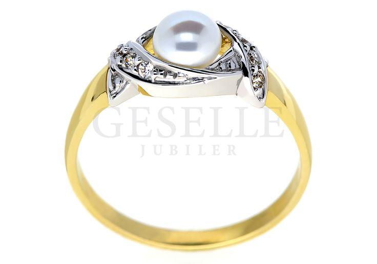 Pełen blasku i czaru pierścionek z perłą otoczoną delikatnymi falami cyrkonii | NA PREZENT \ Rocznica NA PREZENT \ Urodziny NA PREZENT \ Dzień Matki ZŁOTO \ Żółte złoto \ Pierścionki od GESELLE Jubiler