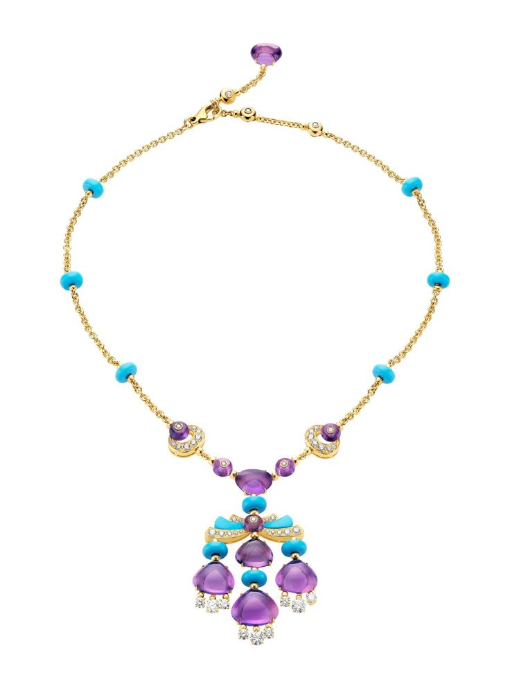 Bvlgari 18k Mediterranean Eden Necklace. 18k Yellow Gold Necklace with a Turquoise, amethyst, Diamond and Pave Diamonds Dangle Pendant.
