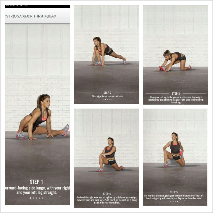 This is my favorite way to stretch my legs. I use it almost everyday. Make sure you do it on both sides. Its called shawn johnson stretch guide by nike training club.