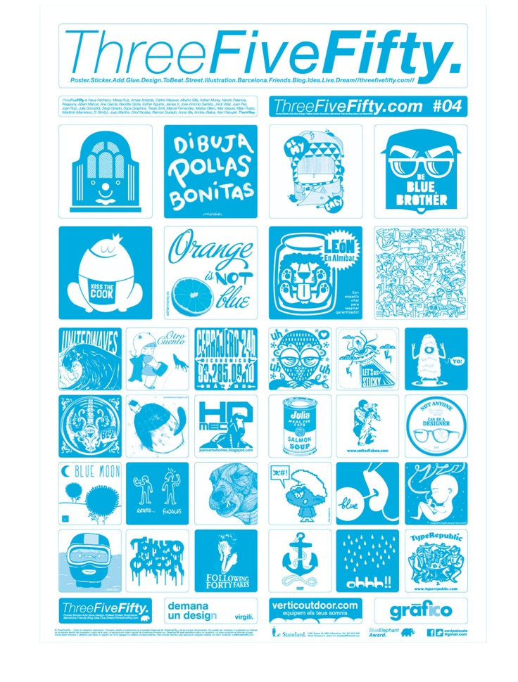 ThreeFiveFifty #04 #blue #stickers #design #art #ilustration #barcelona