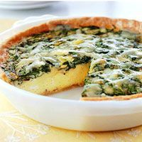 Spinach and Gruyere Quiche  Fat free half and half and refrigerated egg product make this egg dish lower in calories and fat than most other recipes.        MAKES: 10 servings     CARB GRAMS PER SERVING: 15