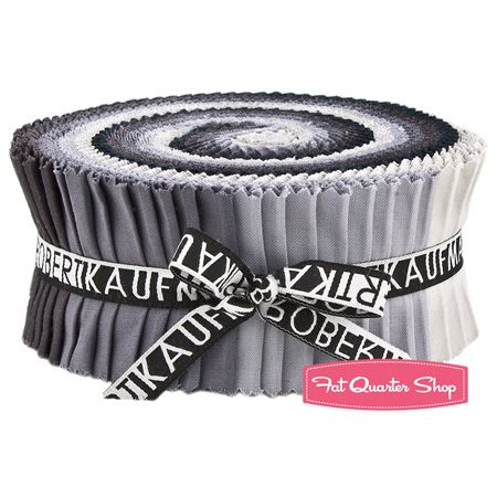 "Silent Film Kona Cotton Solids Roll Up  SKU# RU-193-40   Silent Film Kona Cotton Solids Roll Up includes 40 2 1/2"" strips of fabric rolled up and tied in a cute ribbon.   You will receive eight strips of 5 different prints.    SKUs included are: K001-1007, K001-1223, K001-1080, K001-359, K001-1071."