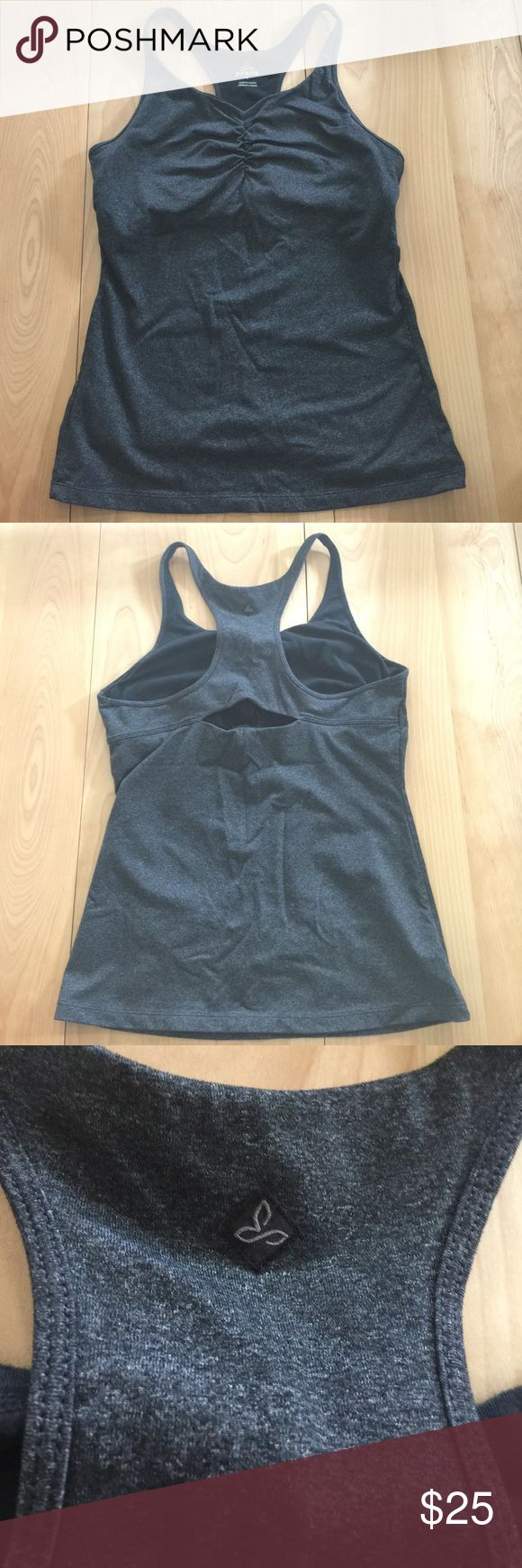 Prana Workout Tank Large Charcoal Prana Workout Tank Large Charcoal. Peek a Boo detail in the back. Bra lining. Used, good condition. No pilling on outside of top. Minimal pilling in lining. Classic basic for workouts. Prana Tops Tank Tops